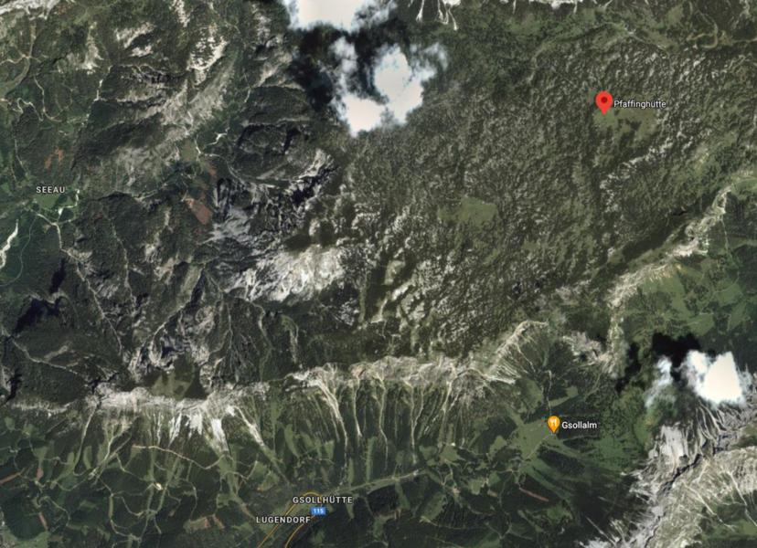 Kartenausschnitt - Google Maps Pfaffing Hütte